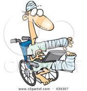 Injured in wheelchair
